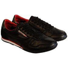 Diesel Mens Spin Black Casual Leather Lace Up Sneakers Shoes