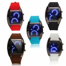 Mens RPM Turbo Blue Flash LED Sports Car Meter Dial Watch Wristwatch 5 Colors US