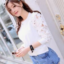 1PC Fashion Women Hollow Long Sleeve Embroidery Lace T Shirt Top Blouse Nice