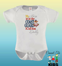 EMBROIDERED My Hero is in the Coast Guard I Call Him Daddy Funny Baby Bodysuit o