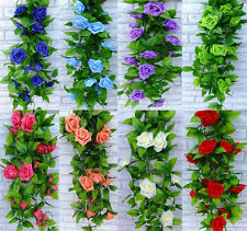 Hot Fake Silk Rose Flower Ivy Vine Hanging Garland Wedding Home Decor Artificial