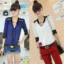 2014 New Sexy Slim Half Sleeve V Neck Lace Collar Patchwork Chiffon Tops Blouses