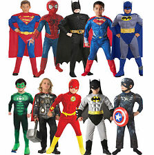 Boys Child Movie Superhero Superman Batman Muscle Chest Fancy Dress Costume