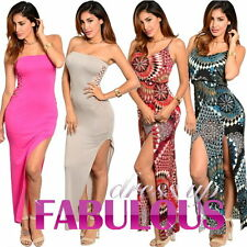Sexy Womens Long Maxi Slit Dresses Size 6-12 Asymmetrical Clubbing Evening Party