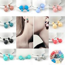 Vintage European Fashion Ear Studs Double Sided Sphere Ball Colorful Matte Beads