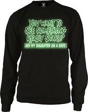 GLOW IN THE DARK Halloween Ask My Daughter On A Date Scary Long Sleeve Thermal