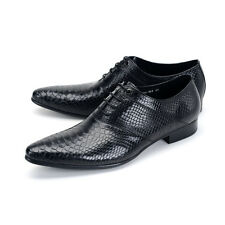 Men 100% REAL Leather Formal dress Shoes Handmade Weave Pattern Lace up Oxfords