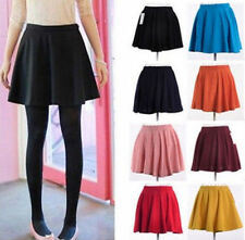 Womens Ladies Candy Color Stretch Waist Plain Skater Flared Pleated Mini Skirt