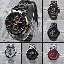 New  Mens Stainless Steel 6 Colors Sport Analog Quartz Wrist Watch Gift