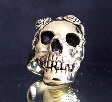 ARTWORK BRONZE BIKER RING GRANNY SKULL WITH ROSE COLLAR PSYCHO ANTIQUED ANY SIZE