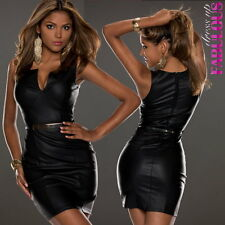 Womens Sexy Dress Size 8 10 12 Sleeveless Leather Look Party Clubbing Evening