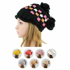 Ladys Girls Beanie Knit Hat Winter Crochet Ski Cloche Bucket Cap UPick SY