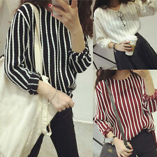 Womens Striped Long Sleeve Loose Casual Oversized Knitted Tops Blouse Pullover