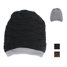 Mens Womens Baggy Knit Beanie Reversible Dual Layer Winter Hat Ski Cap Skull BL