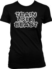 Train Like A Beast Exercise Workout Weight Lifting WOD Gym Rat Juniors T-shirt