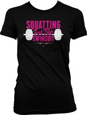 Squating For The Swimsuit Bikini Workout Exercise Weight Lifting Juniors T-shirt