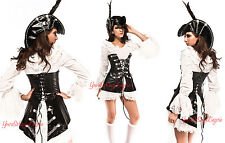 Sexy PIRATE Costume + HAT Corset Mini dress STEAMPUNK  FAUX LEATHER Buccaneer