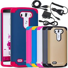For LG G3 Colorful Soft Hybrid Slim TPU Hard Case Cover Charger Accessory Bundle