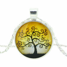 "Women Pretty Charm ""Tree"" Image Round Glass Cabochon Pendant Chain Necklace"