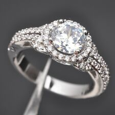 Amazing White Topaz Gemstone 925 Sterling Silver Women Ring Size 6 7 8 9 N0458