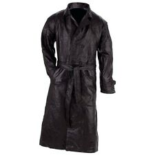ALL SIZES MENS LEATHER BLACK LONG TRENCH COAT W/Belt Choose Size Winter Wear