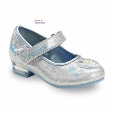 NEW Girls Disney Frozen Elsa Mary Jane Shoes Silver Size 6-12 Toddler/Youth