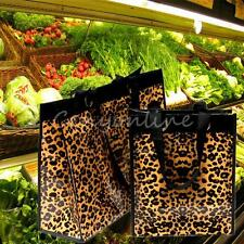 Large Trumpet Leopard Waterproof Pouch Shopping Travel Reusable Grocery Tote Bag