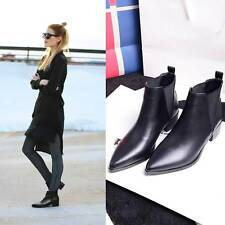 Stylish Womens Pointed Toe Mid Heels Square Block Comfort Pull On Ankle Boots