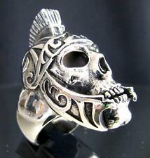 ARTWORK BIKER SILVER RING ROMAN LEGION GLADIATOR WARRIOR SKULL MC ANY SIZE