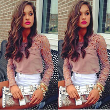 1PC Women Lace Crochet Embroidery Tops Long Sleeve Shirt Casual Blouse Nice