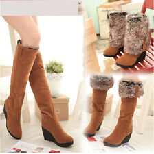 New Fashion Women's Winter Snow Boots Warmth Knee High Boots Faux Suede Wedge