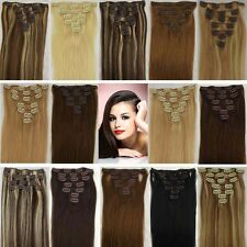 CLIP IN 100% REAL HUMAN HAIR EXTENSIONS STRAIGHT WAVY CURLY Black Brown Blonde