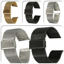New 18/20/22mm Watch Strap Shark Mesh Band Stainless Double Clasp Steel Bracelet