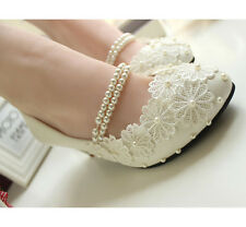 Royal Lace Handmade Pearls Butterfly Knot Bridal Party Wedding Shoes