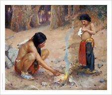 """EANGER IRVING COUSE """"Campfire"""" People CANVAS ART ! choose your SIZE, from 55cm"""