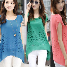 Hot Women Sexy Short Sleeve Tops Casual Chiffon Shirt Asymmetric Blouse Summer