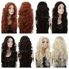 ANIME CURLY WAVY Women Long Hallow Long Blonde/Brown/Orange Party Wigs Cosplay