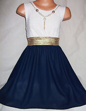 GIRLS GOLD TRIM  WHITE LACE DARK BLUE CHIFFON DIP HEM PARTY DRESS with NECKLACE