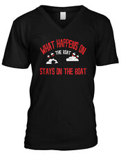 What Happens On The Boat Stays On The Boat Fishing Humor Mens V-neck T-shirt