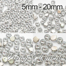 5mm-20mm Acrylic Round 1122 Clear Crystal Silver Setting Sew On Rhinestones Bead