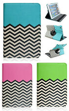 Chevron 360 Rotating Leather Stand Hard Case Hybrid Cover For iPad/Galaxy Tablet