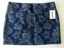NWT Abercrombie & Fitch Mini Pencil Skirt Blue Metallic Rose Flowers Size 0 or 2