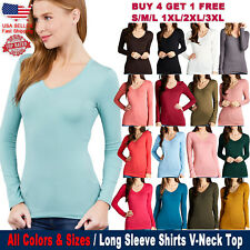 New Active Long Sleeve V-Neck Fitted Spandex Top Basic T-Shirts (S to PLUS SIZE)