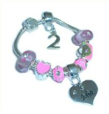 CHILDRENS/GIRLS PERSONALISED NAME/INITIAL & AGE CHARM BRACELET PINK ENAMEL BOXED