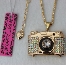 Betsey Johnson Crystal Camera Pendant Sweater Chain Necklace
