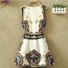 Sexy Women Vintage Floral Print Sleeveless Vest Casual Party Club Dresses W3LE