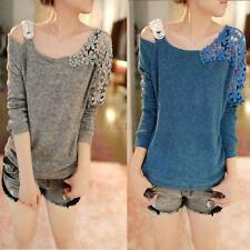 Vintage Fashion Women's Long Sleeve Casual Tops Lace Shirt Blouse Sweater L21