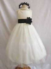 Ivory with black summer wedding dancing party pageant tulle flower girl dresses