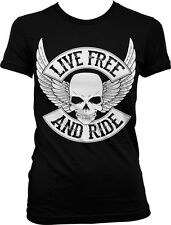 Live Free And Ride Skull Wings Biker Rebel Motorcycle Rider Juniors T-shirt