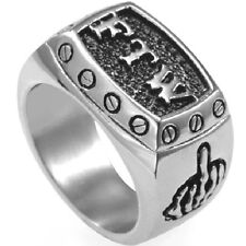 Size 7-15 Retro Vintage FTW Ring Stainless Steel Mid Finger Motor Biker Jewelry